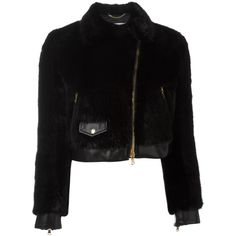Moschino cropped faux fur biker jacket (3.115 BRL) ❤ liked on Polyvore featuring outerwear, jackets, black, motorcycle jacket, straight jacket, faux fur short jacket, cropped motorcycle jacket and moto jackets