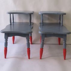 Gray Telephone Tables on Fab. A can of spray paint and tables from the basement