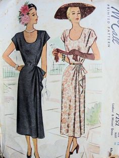 OMG…The hat,the gloves, swoon...1940s DRESS PATTERN U SHAPE NECKLINE, SIDE DRAPE, VERY PRETTY STYLE McCALL 7252