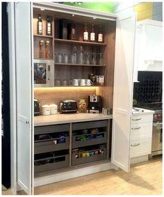 Kitchen Pantry Design, Diy Kitchen Storage, New Kitchen Cabinets, Rustic Kitchen, Kitchen Ideas, Kitchen Organization, Kitchen Decor, Long Kitchen, Organization Ideas