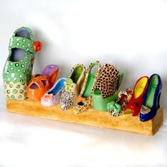 love this   a shoe chanukah menorah