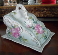 limoges china | Limoges China Hand Painted Cheese Dish Pink Floral from rlreproshop on ... Butter Cheese, Butter Dish, Cheese Dishes, Cheese Trays, Garlic Jar, Cheese Dome, Limoges China, China Painting, Wicker Furniture