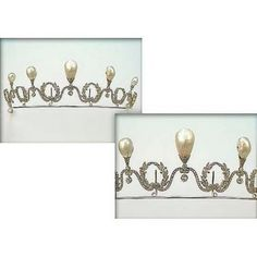 A late pearl belle epoque tiara, 1905. Designed as six diamond wreaths, connected by an undulating line of diamonds, each upper undulation topped by a pear-shaped pearl. Sold by Sotheby's 28th November 2000, for £35,000.