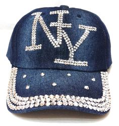 Bedazzled NEW YORK NY HAT Rhinestone Bling Dark Denim Blue Jean Ladies/Women Cap #BaseballCap #DressyorCasual