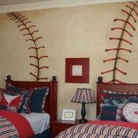 """baseball stitching on the wall. could it be adapted for an adult room? I love that the """"ball"""" looks old; would prefer to see the stitching at an angle, and perhaps in a a smaller size."""