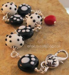 Lampwork dog lover paw print bracelet giveaway from For Love of a Dog Jewelry
