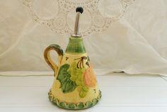 Vintage Handpainted Majolica Vallauris Ceramic Vinegar Oil Cruet by pentyofamelie on Gourmly