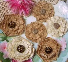 cut burlap flowers and sew in button or twine Burlap Fabric, Burlap Lace, Burlap Flowers, Burlap Bows, Felt Flowers, Fabric Flowers, Paper Flowers, Burlap Projects, Burlap Crafts