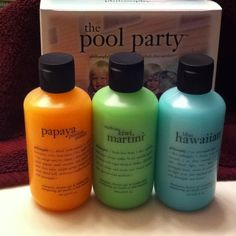 "Philosophy ""pool party"". Love Philosophy shower gel because it can also be used as shampoo and bubble bath!"