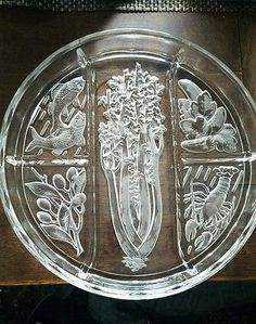 Indiana Glass Divided serving Platter Tray Dish 10 1/4