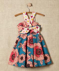 Blue Floral Cross-Back Dress - Infant, Toddler & Girls