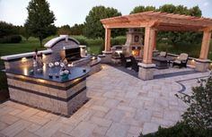 Ideas : Outdoor Rooms With Fireplaces Covered Porch' Outdoor Kitchen Grills' Backyard Patio Ideas along with Ideass Outdoor Kitchen Countertops, Backyard Kitchen, Outdoor Kitchen Design, Laminate Countertops, Kitchen Grill, Homey Kitchen, Backyard Pergola, Pergola Patio, Pergola Ideas