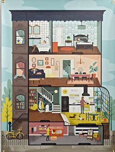 """Ever walk by a building and wonder, """"What's going on in there?"""" Well, wonder no more. The illustrated brownstone on this banner shows you a detailed cross-section of its interior."""