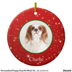 #Personalized #Puppy #Dog #Pet Photo #Ornament #red #stars