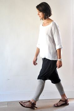I like this look...tights and sandals, short skirt and loose top.  My style.  VDC - le vestiaire de cle