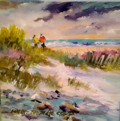 """""""DECEMBER WALK""""  8X8 Worked in acrylics on board............a favorite beach that I like to frequent.........."""