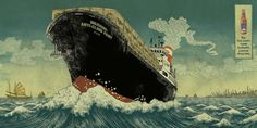 Yuko Shimizu illustration of a container-ship - advertisement for tiger beer. Barbarian Woman, Tiger Beer, Yuko Shimizu, School Of Visual Arts, Artist Alley, Creative Advertising, Print Magazine, Comic Book Artists, Artists