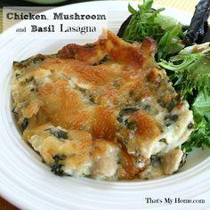 Chicken, Mushroom and Basil Lasagna