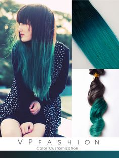 black to green mermaid colorful ombre indian remy clip in hair extensions-c026