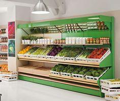 Mural expositor de frutas y verduras Pizzeria Design, Juice Cafe, Veggie Display, Produce Displays, Vegetable Shop, Supermarket Design, Pallet Furniture Designs, Fruit Shop, Store Layout