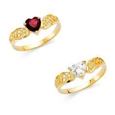 14k Gold Cubic Zirconia Heart-Shaped Filigree Ring (Clear Size ), Women's