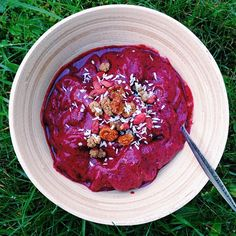 Antioxidant rich smoothie bowl made with fresh bananas, frozen blueberries, frozen raspberries, @Sambazon açaí berry purée, chia seeds, and ...