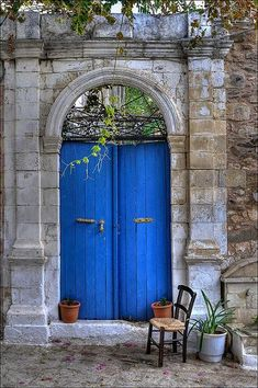 Beautiful blue door in Crete. One of my faves from the door collection here. Cool Doors, The Doors, Unique Doors, Windows And Doors, Front Doors, Garden Doors, Garden Gates, Gazebos, Porte Cochere