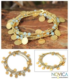 Gold plated wrap bracelet, 'Aqua Suns' at The Animal Rescue Site