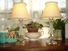 View my listing: Vintage Crystal Glass Bedside Vanity Table Lamps Set of 2 Swiss Dot Shades and Ball Trim sold