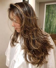 80 Cute Layered Hairstyles and Cuts for Long Hair - - Messy Long Layered Haircut With Highlights Long Hair With Bangs, Haircuts For Long Hair, Long Curly Hair, Long Hair Cuts, Hairstyles With Bangs, Straight Hairstyles, Curly Hair Styles, Layered Hairstyles, Long Layered Haircuts Curly