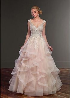 Fabulous Tulle V-neck Neckline A-Line Wedding Dresses With Beaded Lace Appliques & Ruffles