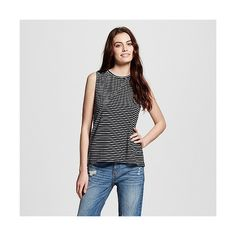 Women's Stripe Muscle Tee Black/White ($13) ❤ liked on Polyvore featuring tops, sleeveless shirts, crew shirt, black and white striped shirt, black and white shirt and black and white striped tank top