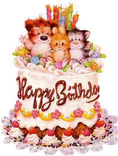 Happy Birthday (cake with cute animals on top)