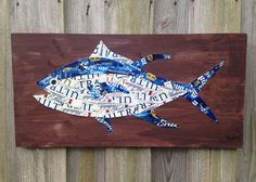 Beer/Bottle Cap Tuna Fish on Stained Wood 24 x 12 by KaysCapArt, $75.00 Diy Bottle Cap Crafts, Beer Cap Crafts, Bottle Cap Art, Plastic Bottle Crafts, Bottle Top, Beer Bottle, Offshore Fishing, Reclaimed Wood Projects, Beer Caps