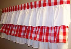 RED TIERS VALANCE, Red/White, 3 Tiers, 42 x 17 inches red and white Valance, gingham, white, red, Kitchen curtain, Great gift for Christmas.