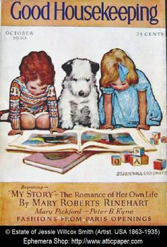 Good Housekeeping magazine cover (Oct 1930) © JESSE WILLCOX SMITH (Artist. USA, 1863-1935)   Boy, Girl & Dog read a book on the floor. Image enhanced - pfb.  Give credit where due. Pin from the Primary Source.