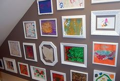 spray painted frame children's art gallery