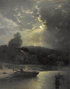 Sophus Jacobsen (Norwegian, 1833–1912) Title: Uferlandschaft im Mondschein