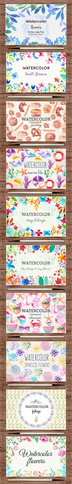 650+ Delightful Watercolor Clip-Art Elements for only $24!