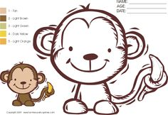 free color-by-numbers activity: cartoon monkey with banana