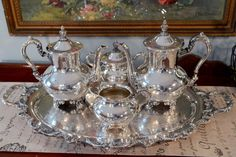 Poole Silver Plate Tea Set  Old English Pattern by PearlsParlor