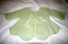 Crocheted Baby Sweater Jacket Handmade With Ribbon Baby Girl Sweater