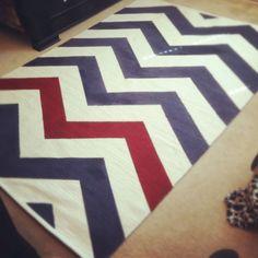DIY Chevron Rug!  Ikea rug + paint + tape = Custom rug!