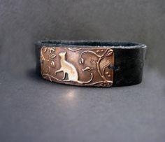 Cat Bracelet Artisan Jewelry Leather Cuff Bronze by RLDesignStudio