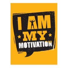 I am my motivation motivation quote fitness gym postcard - postcard post card postcards unique diy cyo customize personalize