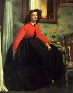 Portrait of Mlle LL. Young Girl in Red Jacket - James Jacques Joseph Tissot (1836-1902).
