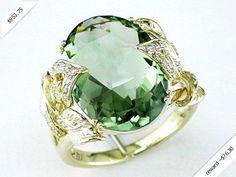 Women's Diamond & Green Amethyst Ring in 14K Yellow Gold (10.44 ctw)