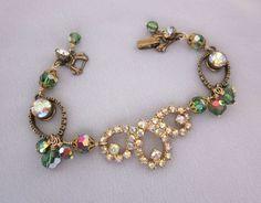 Vintage Assemblage Bracelet Green Rhinestone by jryendesigns