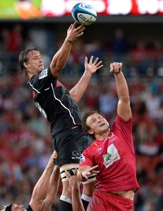 Anton Bresler of the Sharks competes at the lineout during the round 13 Super Rugby match between the Reds and the Sharks at Suncorp Stadium on May 10 2013 in Brisbane Australia ...