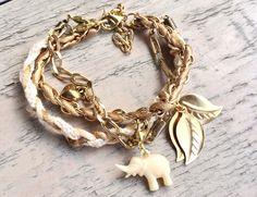Bruin/wit/goud armbandje